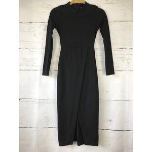 Zara Trafaluc Black Midi Longsleeve Dress XS